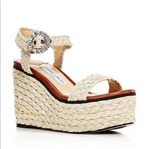 Jimmy Choo Nylah 100 Braided Raffia Wedge Sandals